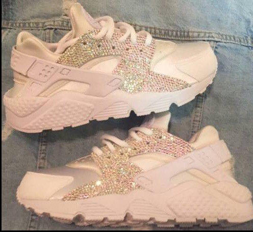 Crystal AB Nike white on white Huaraches from TheeQueenOfBling on a002e8e1e0