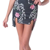Fresh Bloom Skirt - Charcoal Print