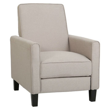Wheat Beige Linen Fabric Upholstered Club Chair Recliner