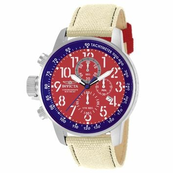 Invicta 12081 Men's I-Force Lefty Red Dial White Fabric & Leather Strap Chronograph Watch