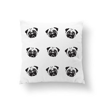 Pugs Pattern Pillow, Gold Pillow, Throw Pillow, Animal Pillow, Dog Mom Pillow, Animal Lover Decor, Dog Pillow, Cushion Cover, Bed Pillow