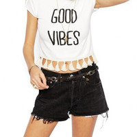 White Good Vibes Graphic Tee with Tassel Accent
