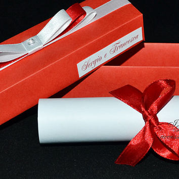 Wedding Invitation or Partecipation card - Model Scroll in the Box - Color Red and White