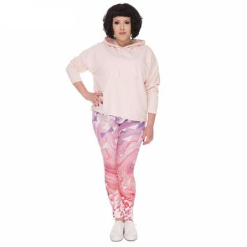 Curvy Pink Marbled Leggings