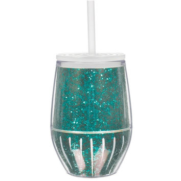 Slant Collections- 10 Oz. Stemless Wine Glass- Turquoise Glitter