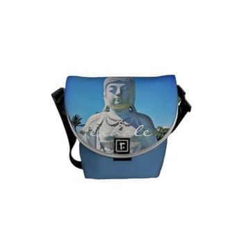 """Exhale"" white Buddha photo mini messenger bag"