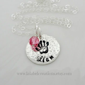 Baby Hand Print Sterling Silver Hand Stamped Jewelry, New Mom Necklace, Personalized Kid Name Necklace with Birthstone