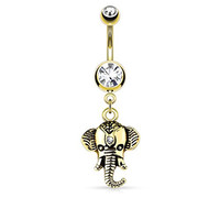 Elephant Dangle Belly Button Ring Double Jeweled 316L Surgical Steel14g Navel Ring (Gold Tone)