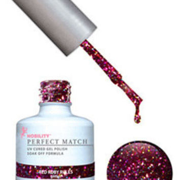 LeChat Perfect Match Gel / Lacquer Combo - Red Ruby Rules 0.5 oz - #PMS57