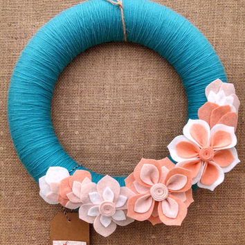 Aqua peach felt flower wreath, yarn felt flower wreath, door decor, mantel decor, white peach, floral wreath, large 14 inch,READY TO SHIP