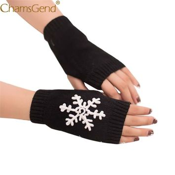 Chamsgend Drop Shipping Hot Snowflake Pattern Knit Fingerless Gloves Women Warm Wristgloves Mitten 71009