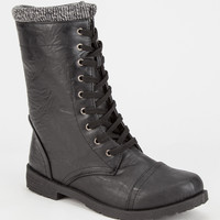Jesco Knit Cuff Womens Combat Boots Black  In Sizes