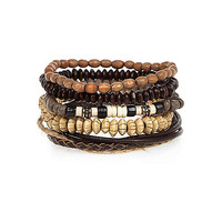River Island MensEcru beaded bracelets pack