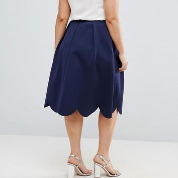 ASOS CURVE Prom Skirt with Scallop Hem at asos.com