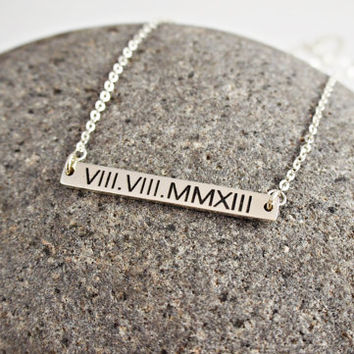 Roman Numeral Necklace- Date necklace- Roman Numeral jewelry- Wedding Date Bar Necklace- Personalized Bar Necklace- Bridelsmaid gift