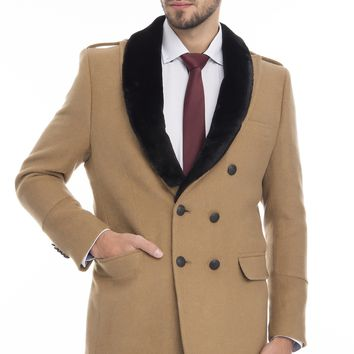 DOUBLE BREASTED BOUCLE PEA COAT WITH FAUX FUR COLLAR - CAMEL