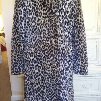 Vintage Leopard Coat 1960's Faux Fur Jacket Mid Century Mad Men Mod Winter Essential Stylish Hipster  Size Small