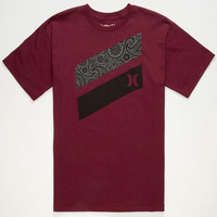 Hurley Paisley Slash Mens T-Shirt Burgundy  In Sizes