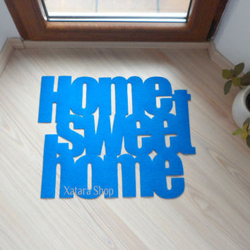 "Design door mat ""Home sweet home"". Personalized rug."