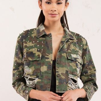 Camo Studded and Distressed Crop Jacket