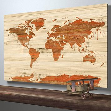 Rustic World Map Canvas Wall Art, Wooden Canvas Art Print, Wall Decor, No:077