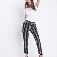 Striped Drawstring Waist Pants