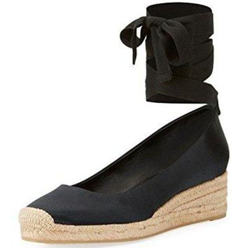 Tory Burch Heather Lace Up Satin Wedge Espadrilles Black