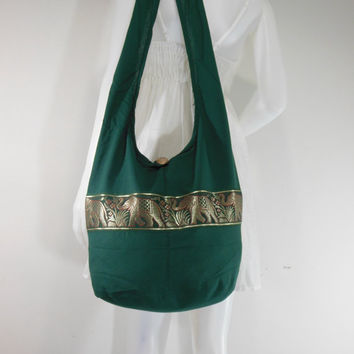Darkgreen Hill Tribe Elephants Cross body  bag,Shoulder bag,Hippie,Cotton, Boho Hobo , Messenger Bag,Purse E-HGB01