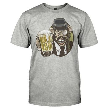 CREYMS2 Beer Chimp With Mustache Bowler Hat And Monocle