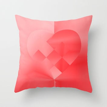 Danish Heart Love Throw Pillow by Gréta Thórsdóttir  #love #heart #girly #Christmas #red #scarlet #ombre #pattern #kids