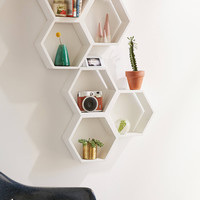 Triple Honeycomb Wooden Shelf   Urban Outfitters