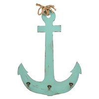 Distressed Wood Anchor with 3 Hooks and Natural Rope Accent - Aqua
