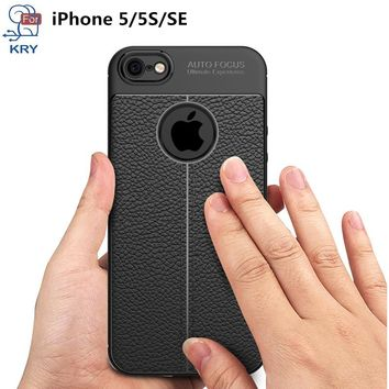 KRY Litchi Leather Phone Cases For iPhone 5s SE Case Ultra Thin Soft Anti Knock Carbon Fiber Cover For iPhone 5 Cases Capa Coque
