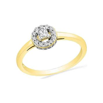 10kt Yellow Gold Women's Round Diamond Solitaire Halo Promise Bridal Ring 1/4 Cttw - FREE Shipping (US/CAN)