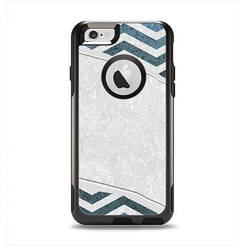The Peeled Vintage Blue & Gray Chevron Pattern Apple iPhone 6 Otterbox Commuter Case Skin Set