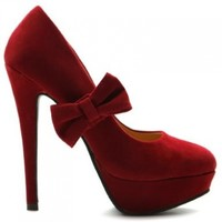 Ollio Women's Shoe Mary Jane Platform Faux Suede Ribbon Band High Heel Multi Color Pump (8.5, Red)