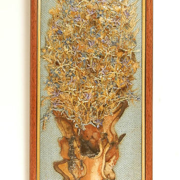 Picture dry grasses and flowersArt Wall Hanging Dried Floral Picture Home Decor