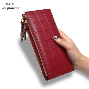 Lee Princess Wallet for Girls Phone With Double Zipper Coin Purse Holders Money Bag Ladies Purse Women Slim Wallets Female