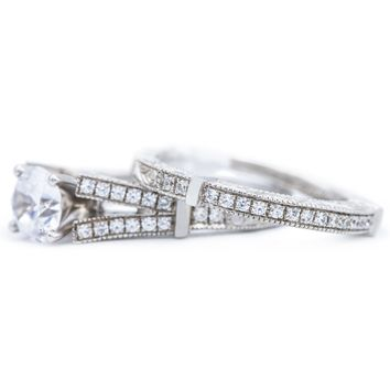 7mm Round Moissanite 14K White Gold Engagement Ring And Wedding Band Set