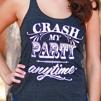 Crash My Party Anytime | Original Racerback Tank