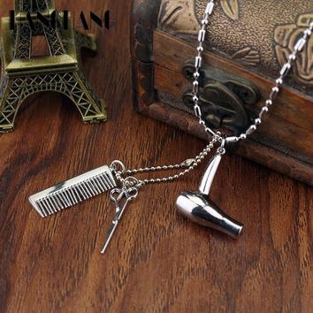 Creative Jewelry Neck lace Tools Hair Dryer/Scissor/Comb Pendants Necklace Barber Shop Hair Dresser Present Necklace Collier