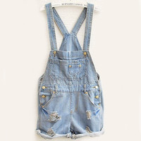 SUNFASHION Women Fashion Clothing Sky Blue Overalls Pocket Jumpsuit [7860005767]