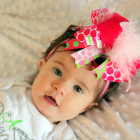 Over the Top Polka Dots and Lime Juice Bow with beautiful Curly Ostrich on partially lined alligator clip attached headband