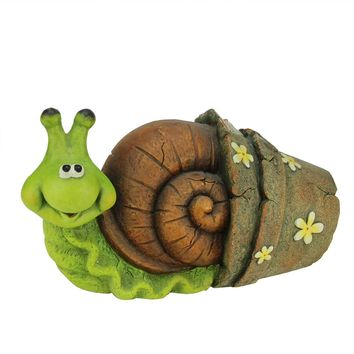 """15.25"""" Green and Brown Snail in Flower Pot Spring Outdoor Patio Garden Statue"""