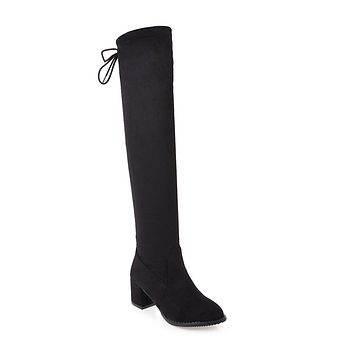Black Suede Tall Boots Winter Shoes for Woman 3274
