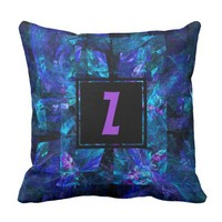 Purple Monogram Over Shades of Blue Fractal Throw Pillow