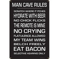 KegWorks Man Cave Rules Metal Sign