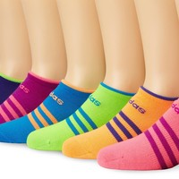 adidas Girls Superlite No Show Socks (Pack of 6), Solar Pink/Solar Green/Solar Blue/Vivid Pink/Glow Orange/Power Purple, Medium