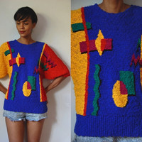 Vtg Abstract Colorful Retro Knit Batwing Sleeves Sweater