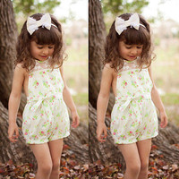 Toddlers Girls Lace Floral Jumpsuit Playsuit Romper Kids Clothes 2-7Y